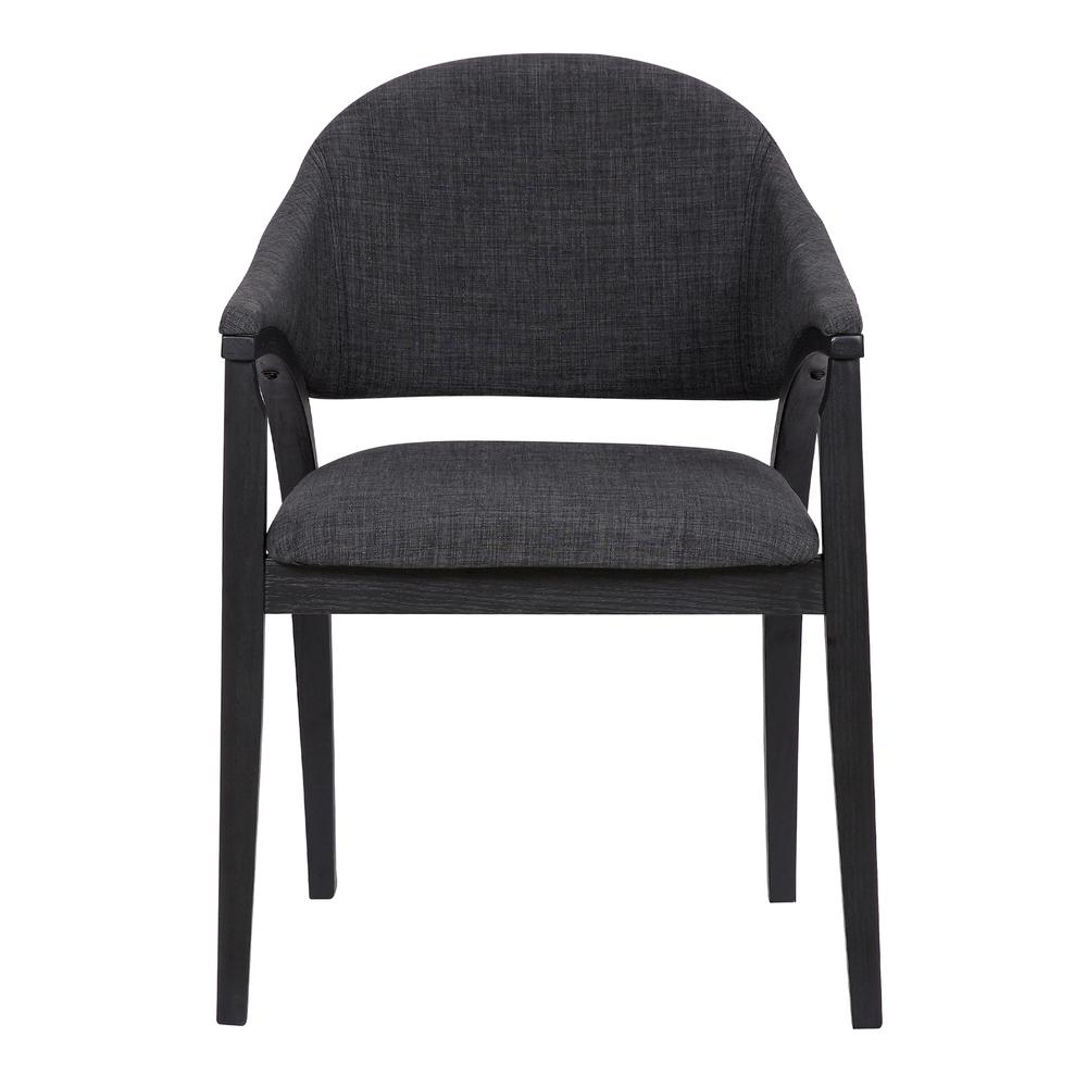 Contemporary Dining Chair in Black Brush Wood Finishand Charcoal Fabric - Set of 2. Picture 3