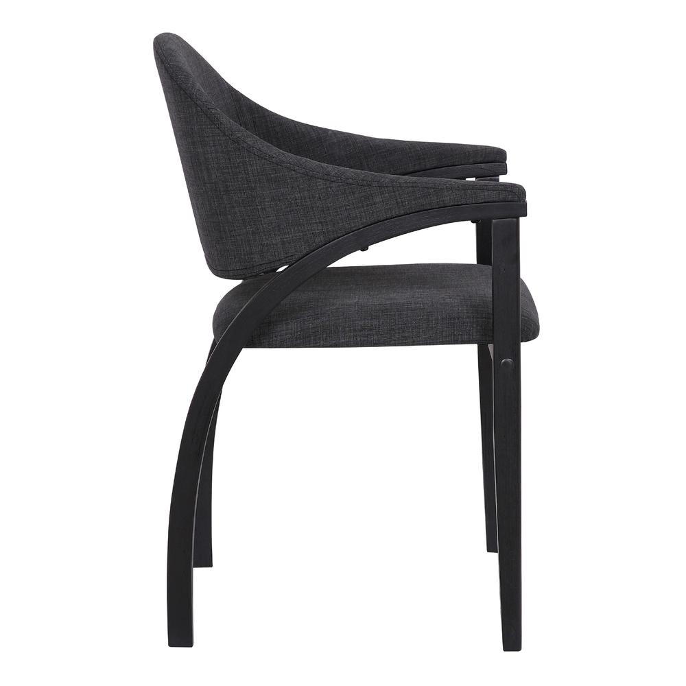 Contemporary Dining Chair in Black Brush Wood Finishand Charcoal Fabric - Set of 2. Picture 4