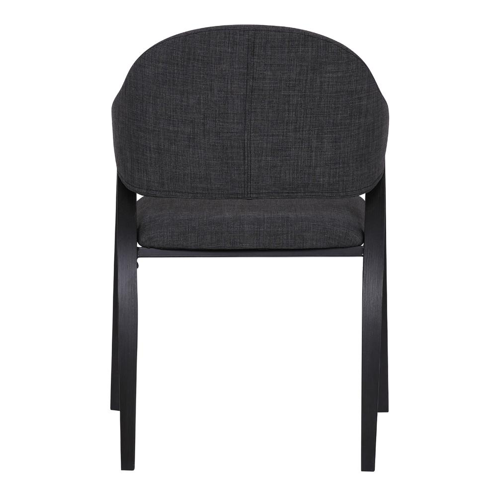 Contemporary Dining Chair in Black Brush Wood Finishand Charcoal Fabric - Set of 2. Picture 6