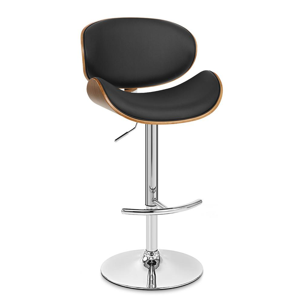 Armen Living Naples Swivel Barstool in Chrome finish with Black Faux Leather and Walnut Veneer Back. Picture 1