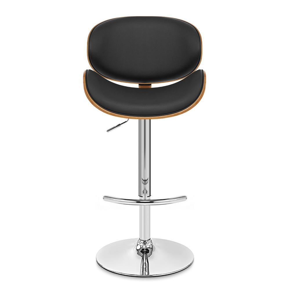 Armen Living Naples Swivel Barstool in Chrome finish with Black Faux Leather and Walnut Veneer Back. Picture 2