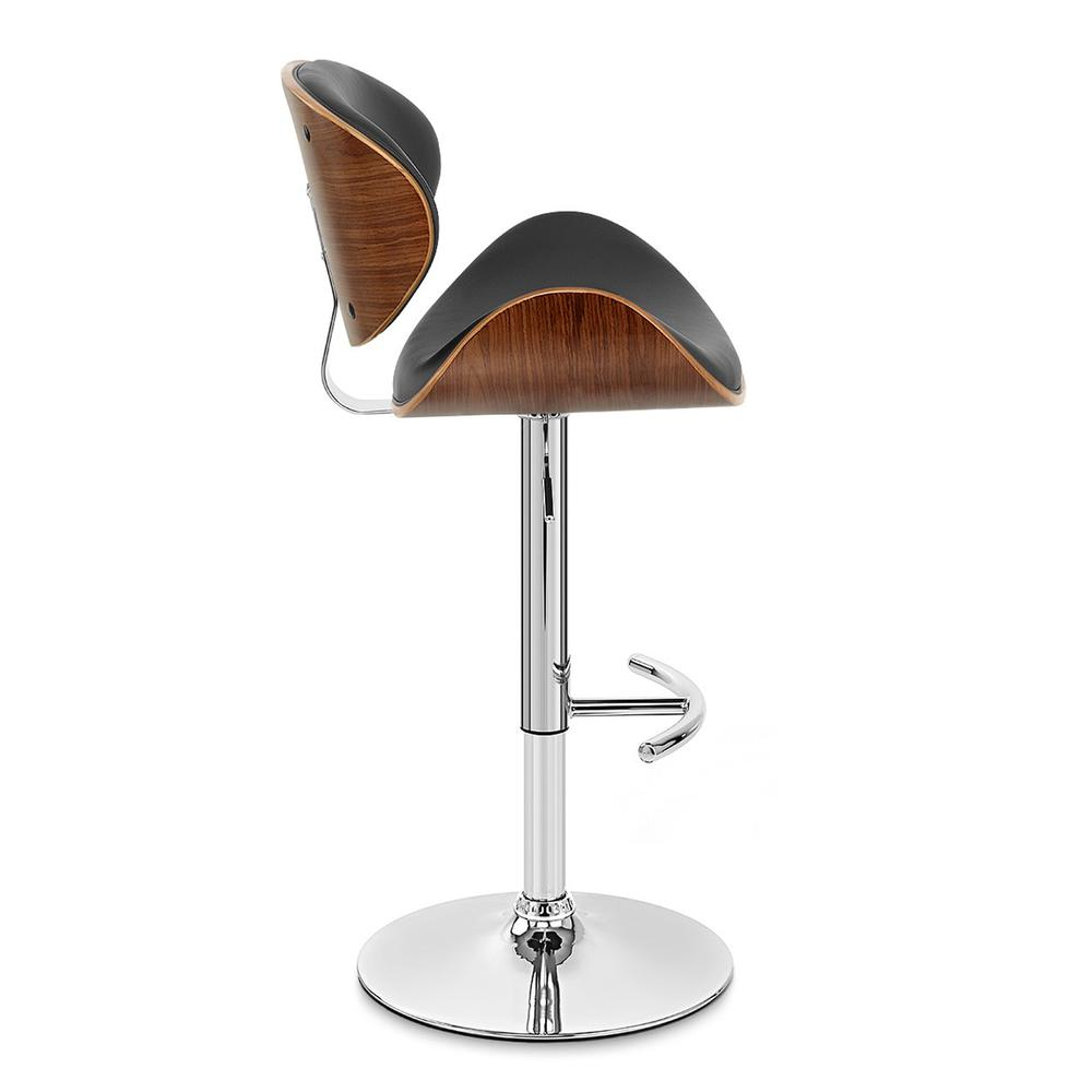 Armen Living Naples Swivel Barstool in Chrome finish with Black Faux Leather and Walnut Veneer Back. Picture 3