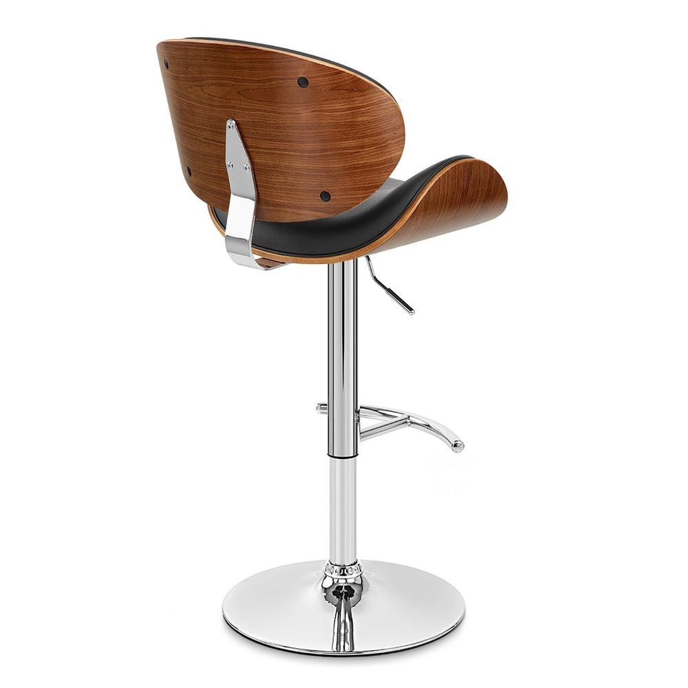 Armen Living Naples Swivel Barstool in Chrome finish with Black Faux Leather and Walnut Veneer Back. Picture 4