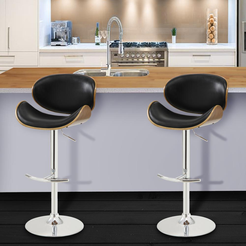 Swivel Barstool in Chrome finish with Black Faux Leather and Walnut Veneer Back. Picture 8