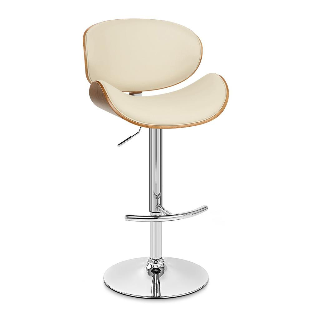 Armen Living Naples Swivel Barstool in Chrome finish with Cream Faux Leather and Walnut Veneer Back. Picture 1