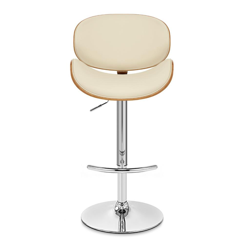 Armen Living Naples Swivel Barstool in Chrome finish with Cream Faux Leather and Walnut Veneer Back. Picture 2