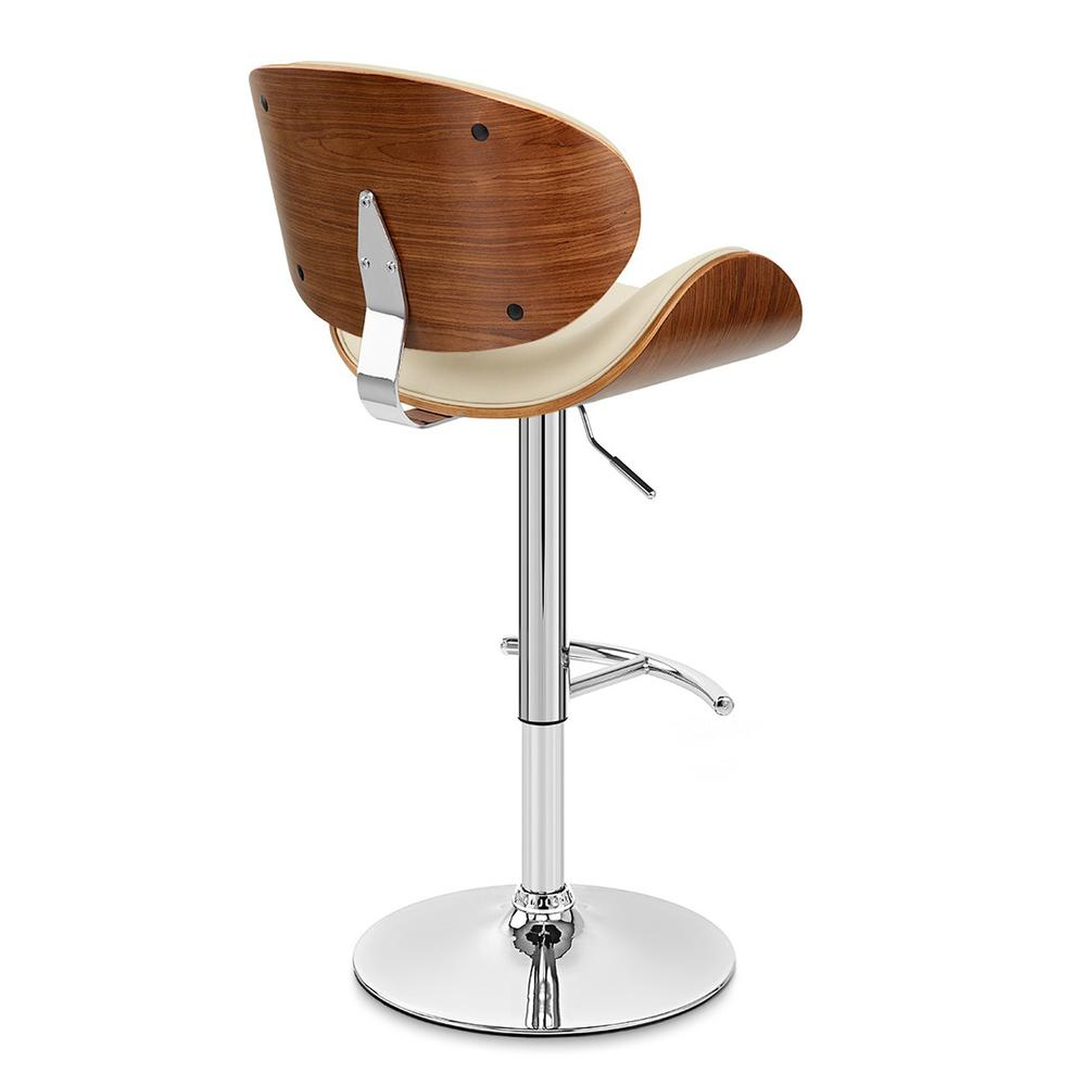 Armen Living Naples Swivel Barstool in Chrome finish with Cream Faux Leather and Walnut Veneer Back. Picture 4