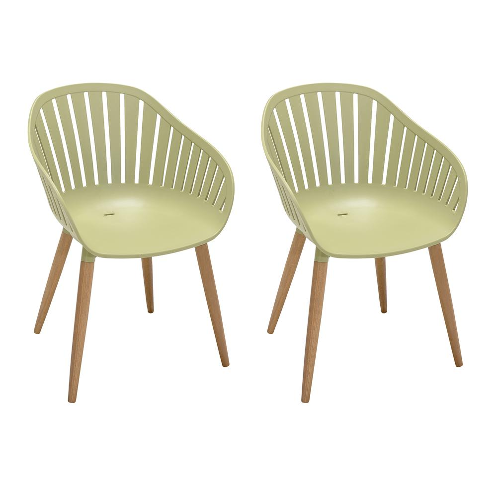 Nassau Outdoor Arm Dining Chairs in Sage Green Finish with Wood legs- Set of 2. Picture 1