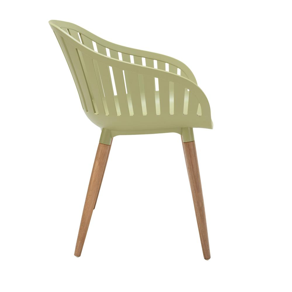 Nassau Outdoor Arm Dining Chairs in Sage Green Finish with Wood legs- Set of 2. Picture 3