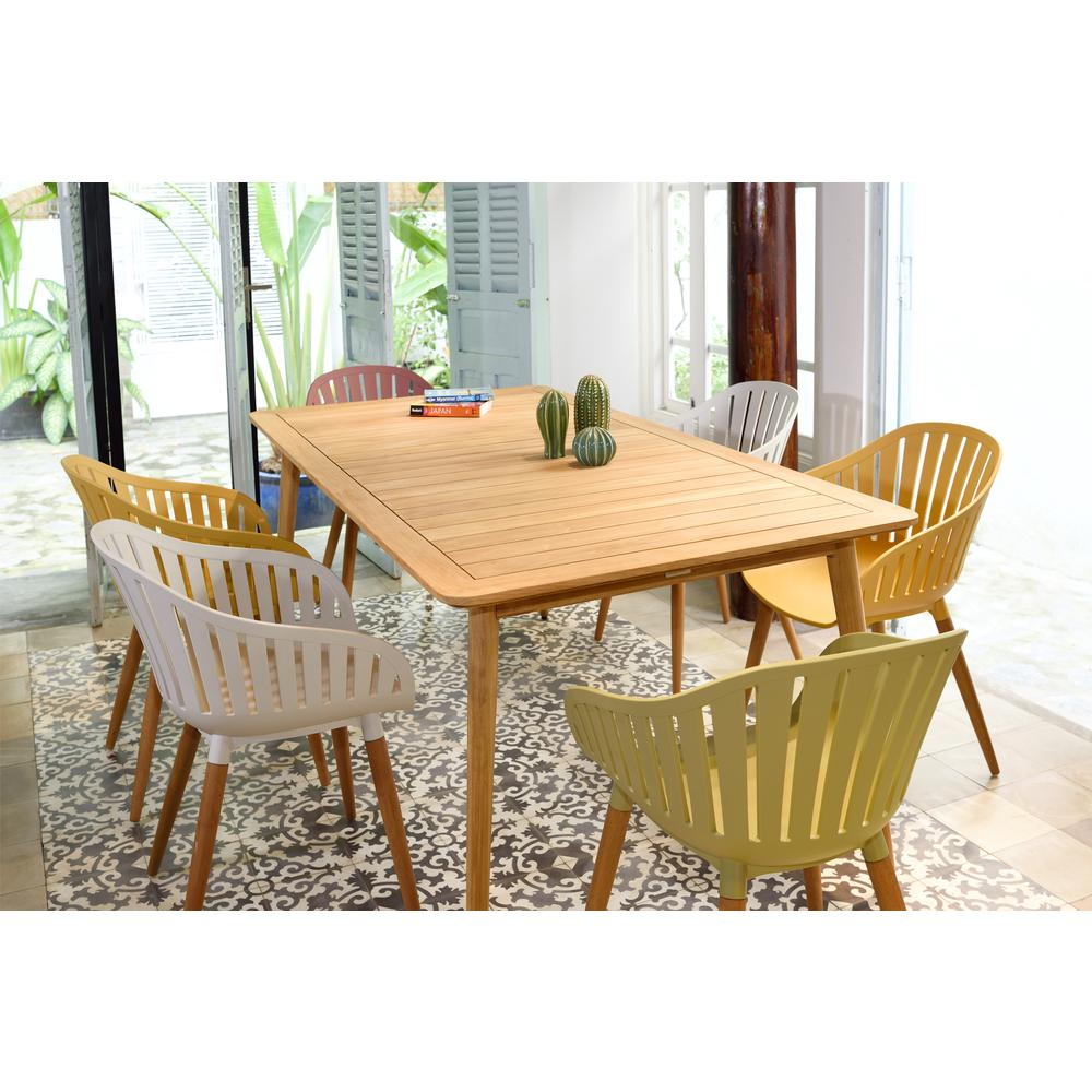 Nassau Outdoor Arm Dining Chairs in Sage Green Finish with Wood legs- Set of 2. Picture 7