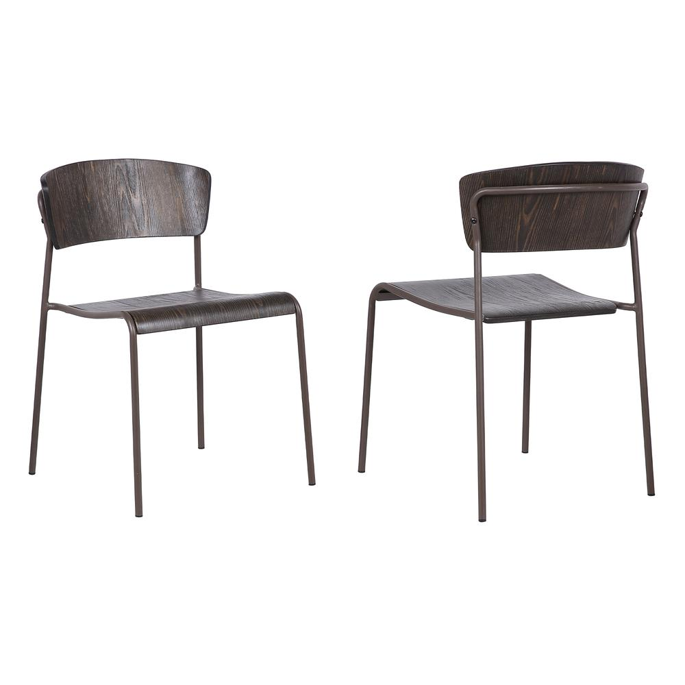 Walnut and Metal Open Back Dining Accent Chairs (Set of 2). Picture 1
