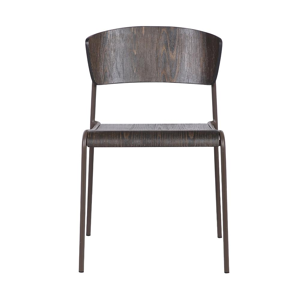 Walnut and Metal Open Back Dining Accent Chairs (Set of 2). Picture 2