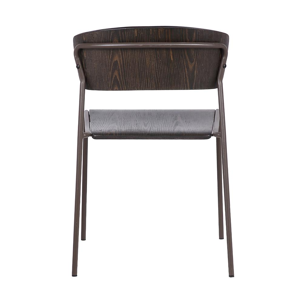 Walnut and Metal Open Back Dining Accent Chairs (Set of 2). Picture 5