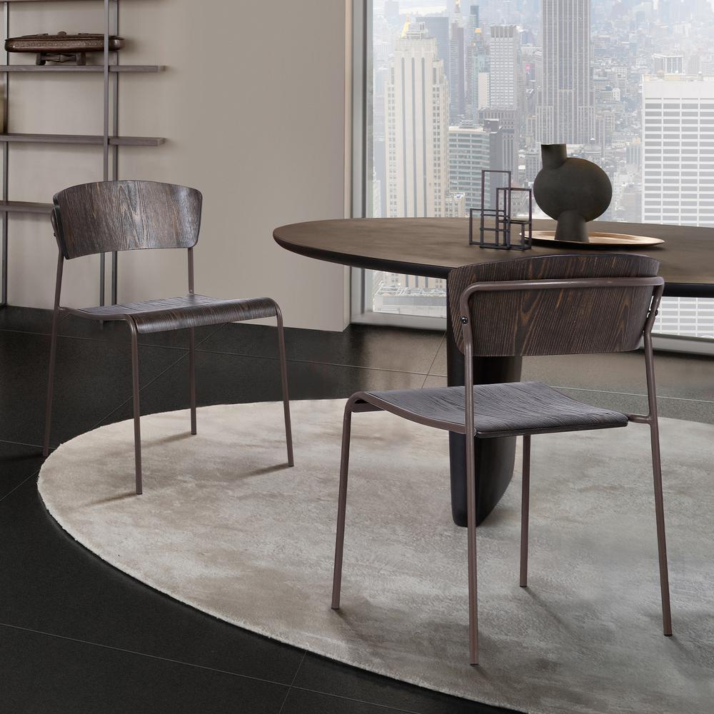 Walnut and Metal Open Back Dining Accent Chairs (Set of 2). Picture 6