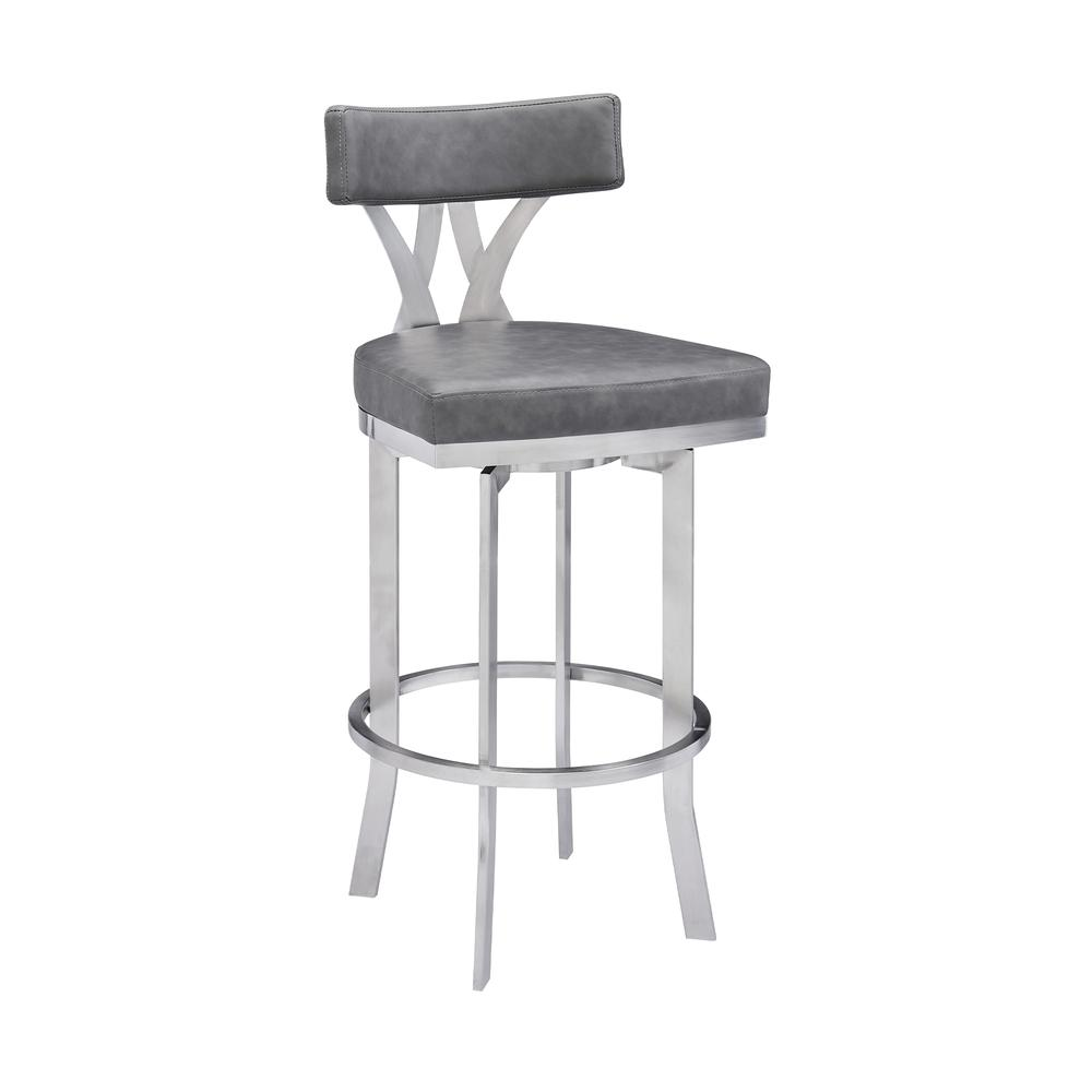"""Natalie Contemporary 30"""" Bar Height Barstool in Brushed Stainless Steel Finish and Vintage Grey Faux Leather. Picture 1"""