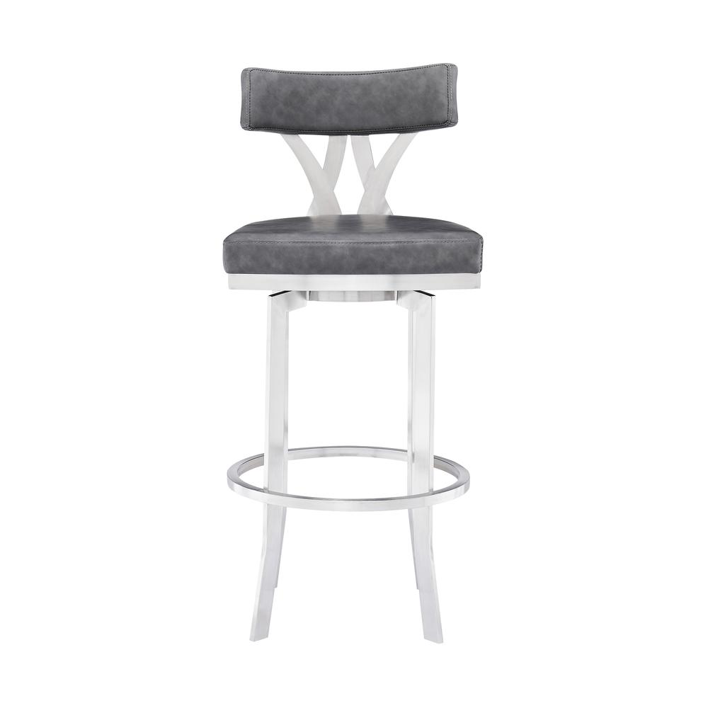 """Natalie Contemporary 30"""" Bar Height Barstool in Brushed Stainless Steel Finish and Vintage Grey Faux Leather. Picture 2"""