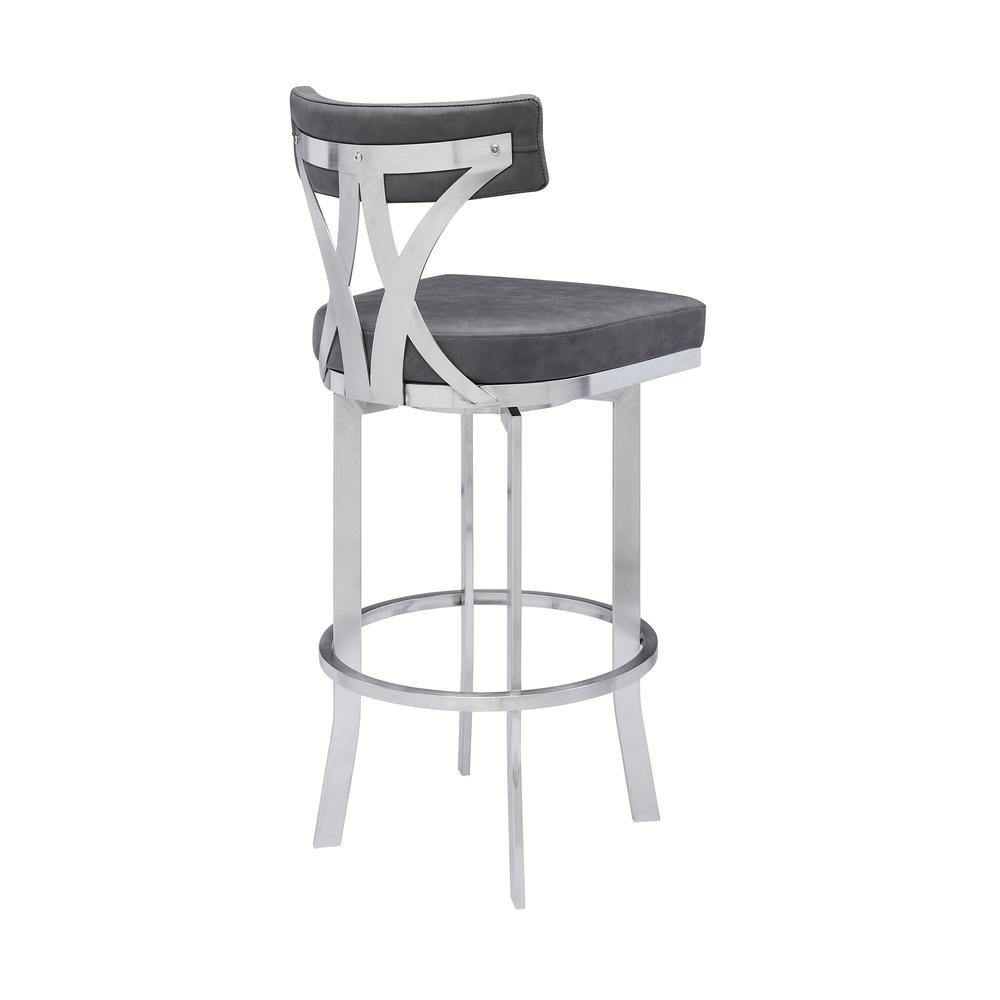 """Natalie Contemporary 30"""" Bar Height Barstool in Brushed Stainless Steel Finish and Vintage Grey Faux Leather. Picture 3"""