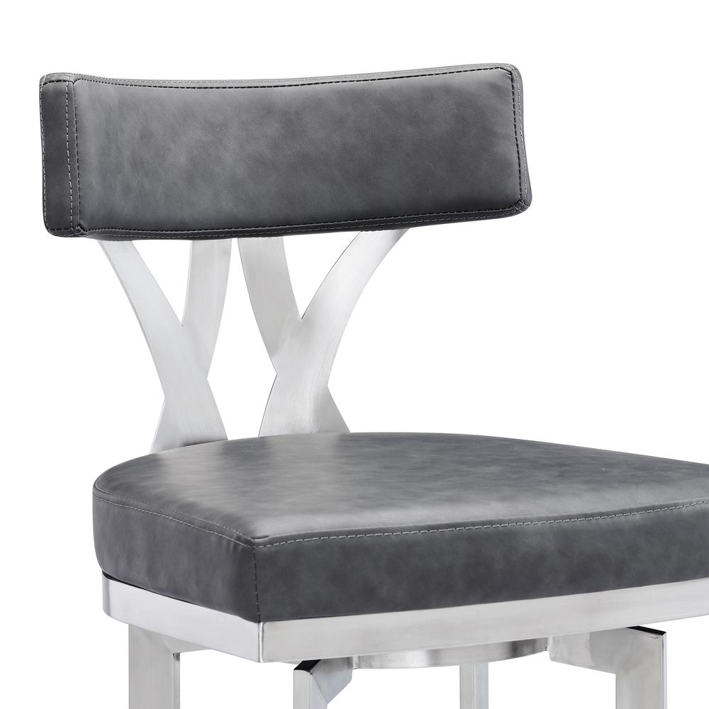 """Natalie Contemporary 30"""" Bar Height Barstool in Brushed Stainless Steel Finish and Vintage Grey Faux Leather. Picture 4"""