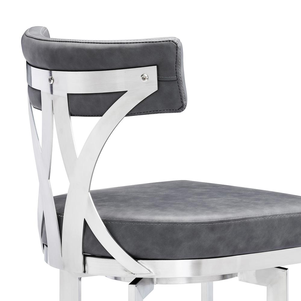 """Natalie Contemporary 30"""" Bar Height Barstool in Brushed Stainless Steel Finish and Vintage Grey Faux Leather. Picture 5"""