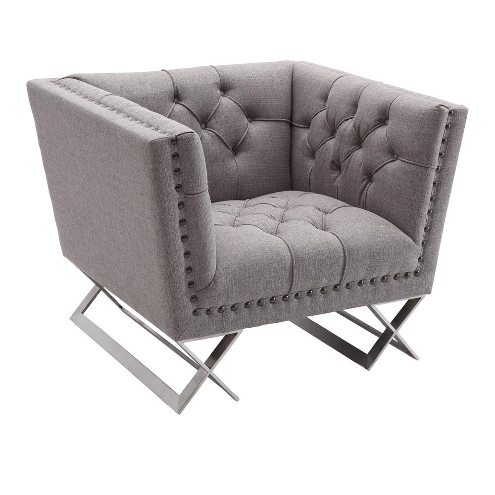 Armen Living Odyssey Sofa Chair in Brushed Stainless Steel finish with Grey Tweed and Black Nail heads. Picture 1