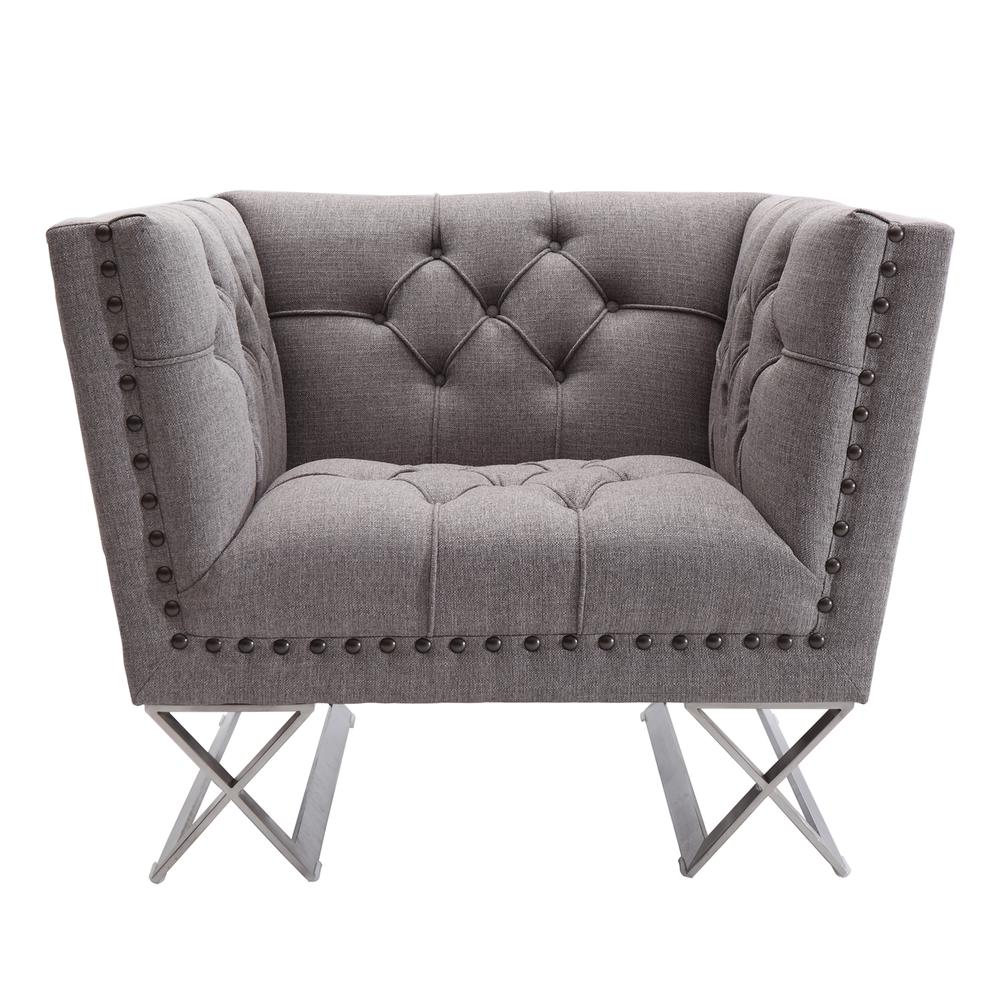 Armen Living Odyssey Sofa Chair in Brushed Stainless Steel finish with Grey Tweed and Black Nail heads. Picture 2