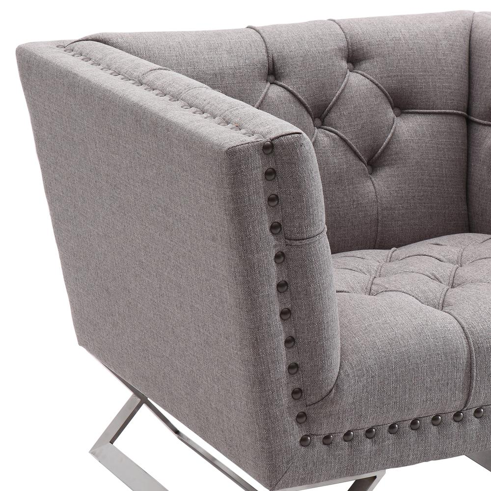 Armen Living Odyssey Sofa Chair in Brushed Stainless Steel finish with Grey Tweed and Black Nail heads. Picture 3