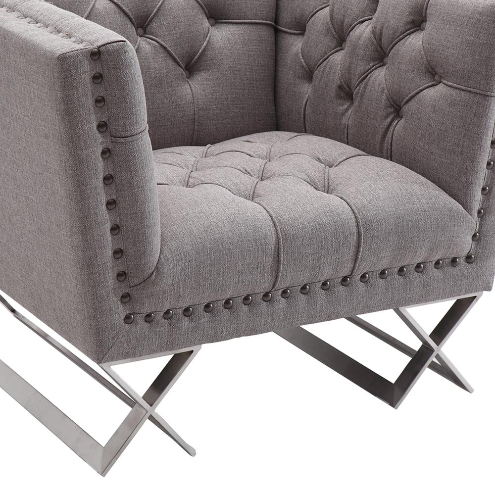 Armen Living Odyssey Sofa Chair in Brushed Stainless Steel finish with Grey Tweed and Black Nail heads. Picture 4
