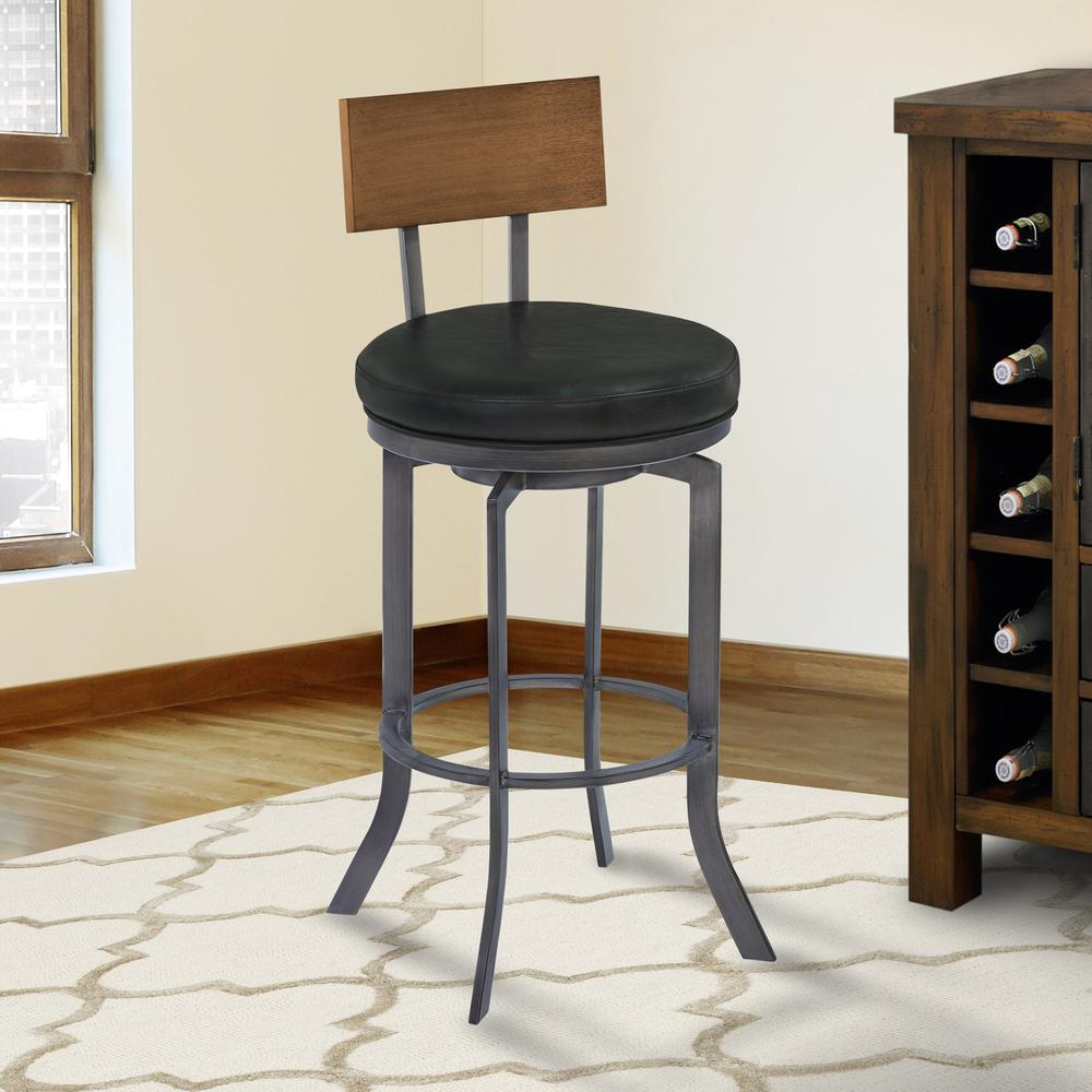 """30"""" Bar Height Metal Swivel Barstool in Vintage Black Faux Leather with Mineral Finish and Walnut Wood Back. Picture 1"""