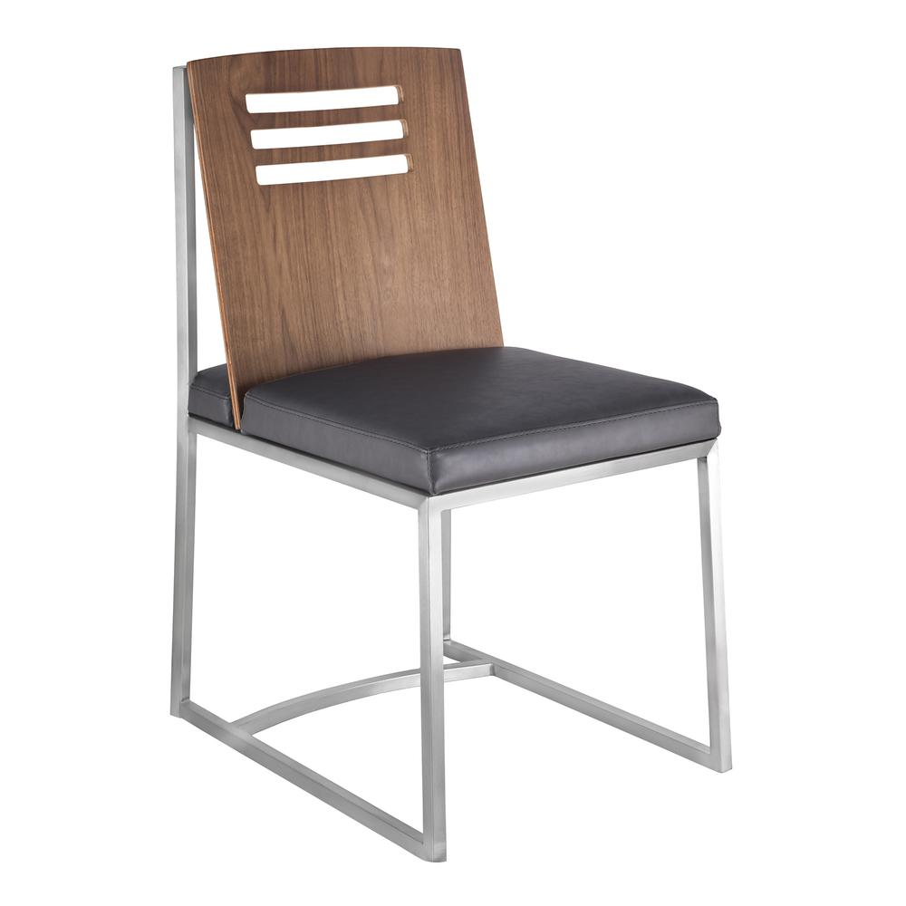Dining Chair in Brushed Stainless Steel with Vintage Grey Faux Leather and Walnut Wood Back (Set of 2). Picture 1