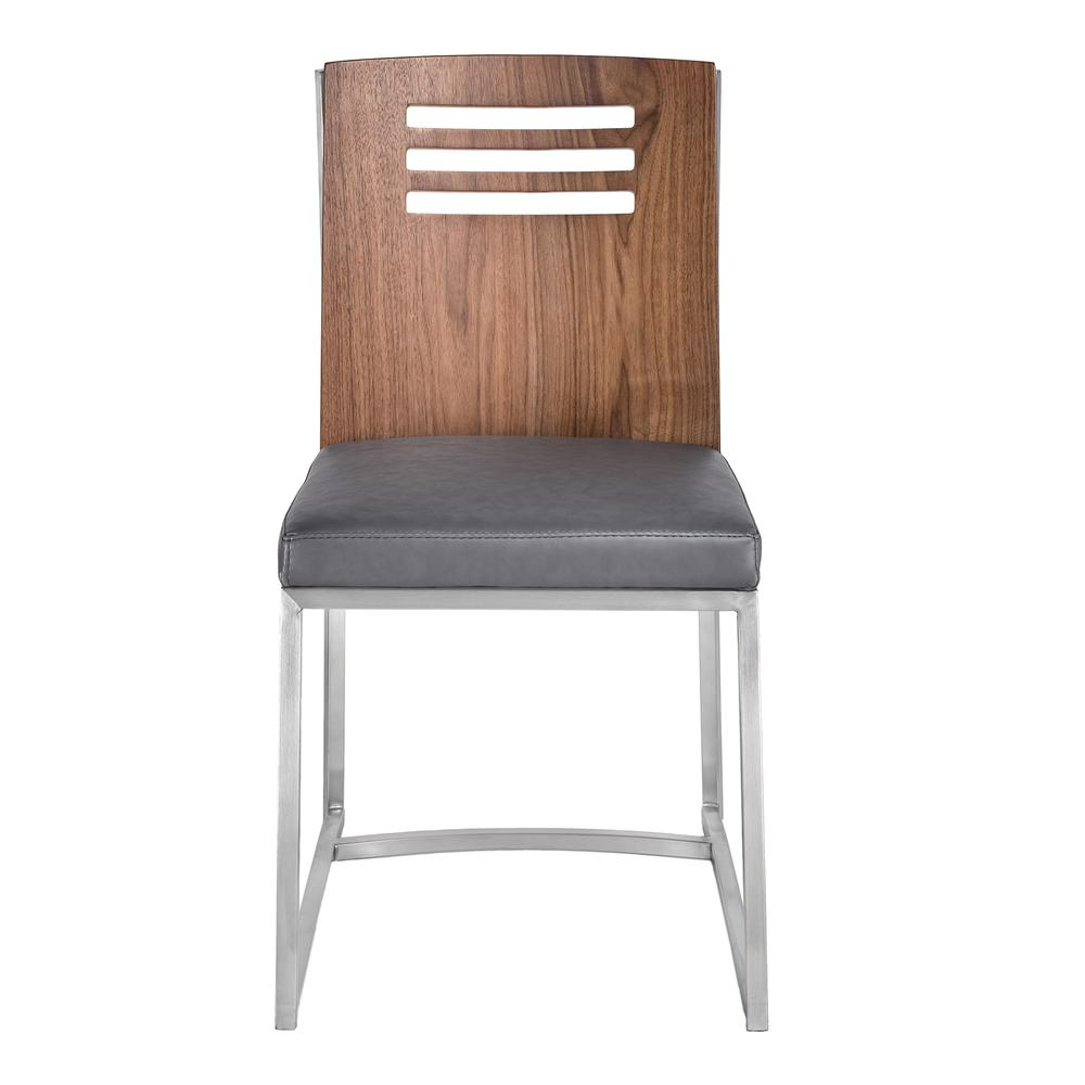 Dining Chair in Brushed Stainless Steel with Vintage Grey Faux Leather and Walnut Wood Back (Set of 2). Picture 2