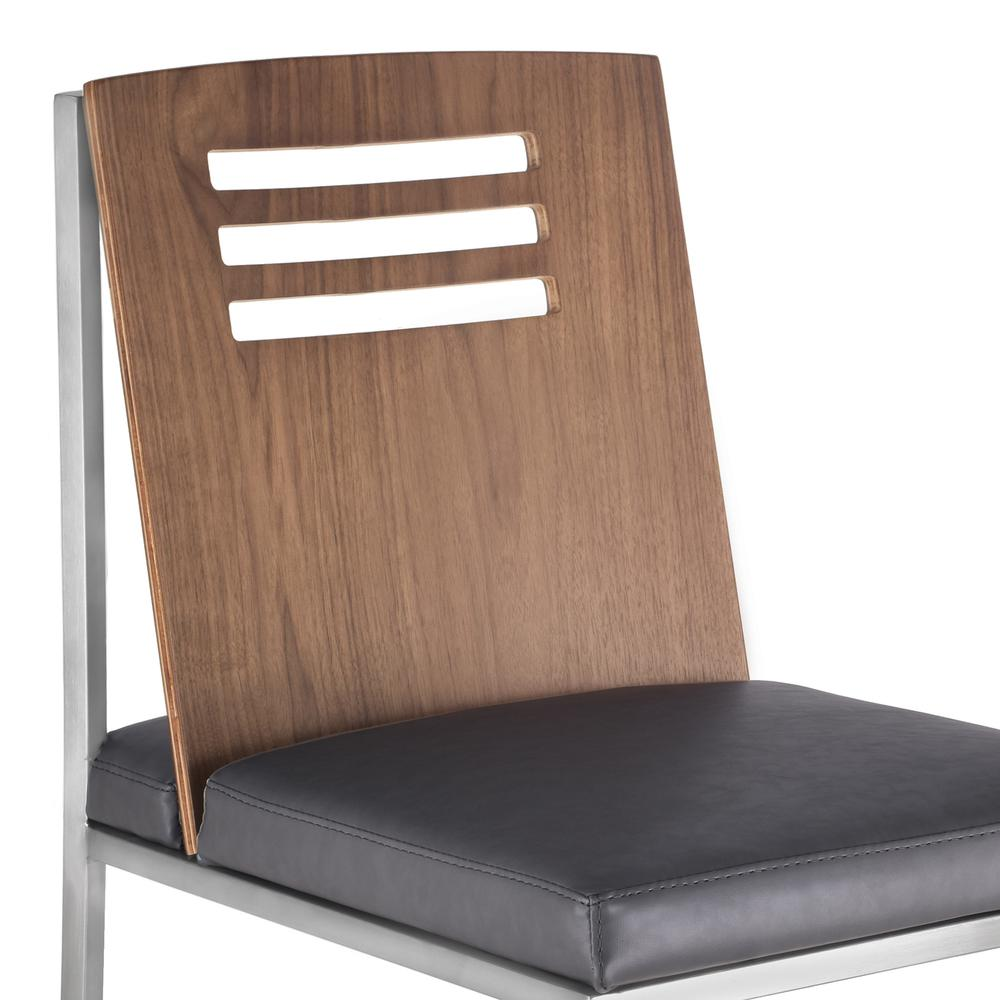 Dining Chair in Brushed Stainless Steel with Vintage Grey Faux Leather and Walnut Wood Back (Set of 2). Picture 4