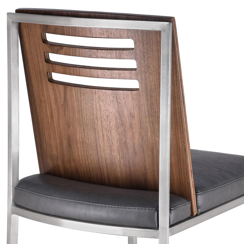 Dining Chair in Brushed Stainless Steel with Vintage Grey Faux Leather and Walnut Wood Back (Set of 2). Picture 5