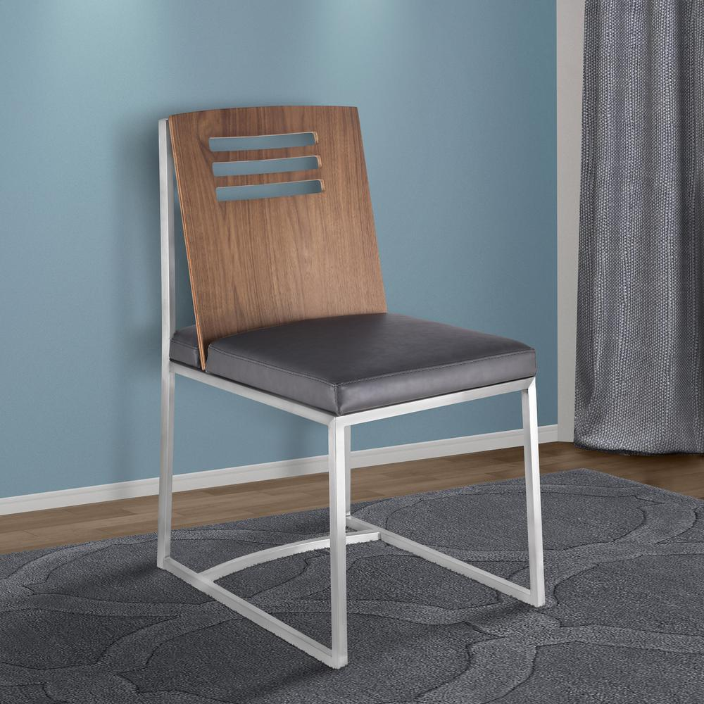 Dining Chair in Brushed Stainless Steel with Vintage Grey Faux Leather and Walnut Wood Back (Set of 2). Picture 7