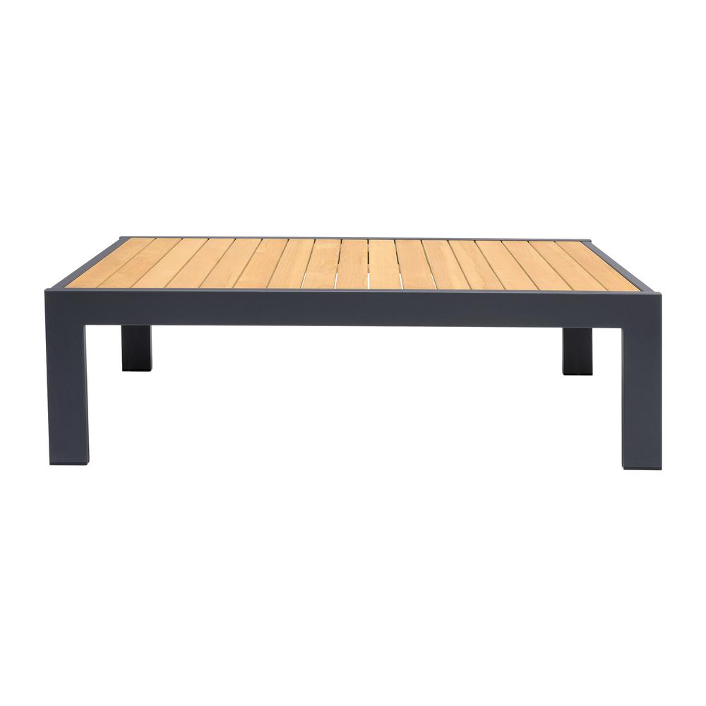 Palau Outdoor Coffee Table in Dark Grey with Natural Teak Wood Top. Picture 1