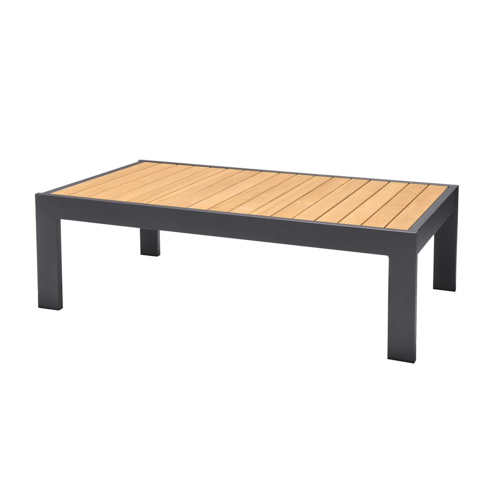 Palau Outdoor Coffee Table in Dark Grey with Natural Teak Wood Top. Picture 2