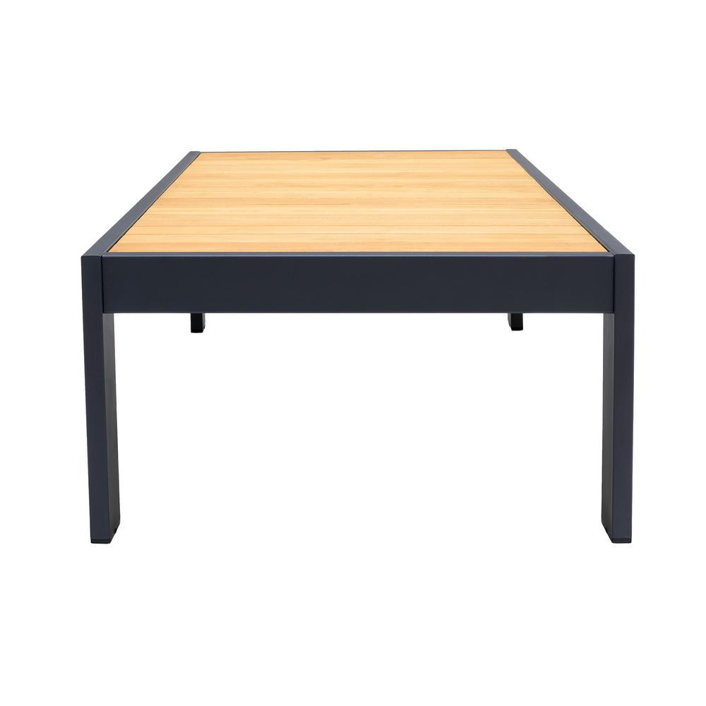 Palau Outdoor Coffee Table in Dark Grey with Natural Teak Wood Top. Picture 3