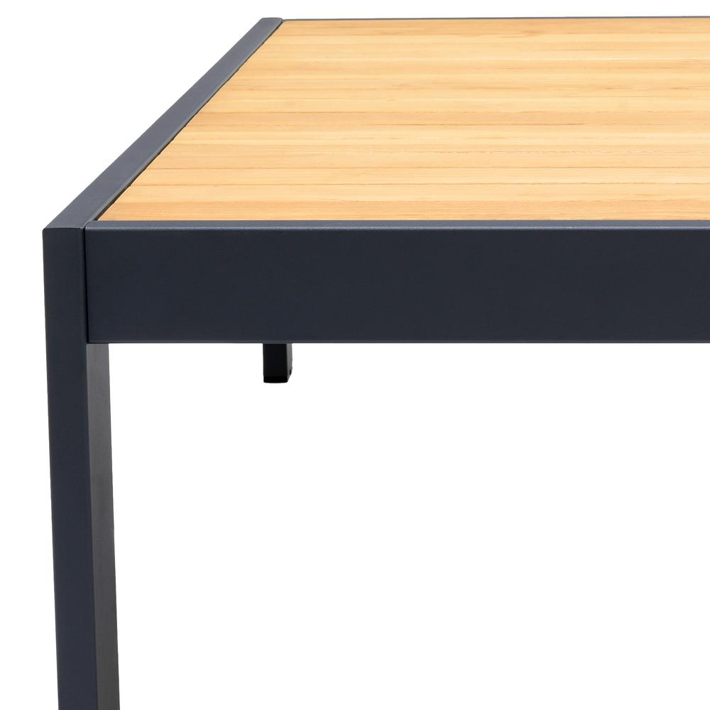 Palau Outdoor Coffee Table in Dark Grey with Natural Teak Wood Top. Picture 5