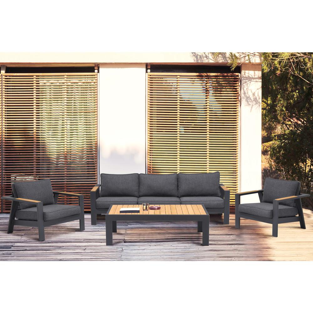 Palau Outdoor Coffee Table in Dark Grey with Natural Teak Wood Top. Picture 7