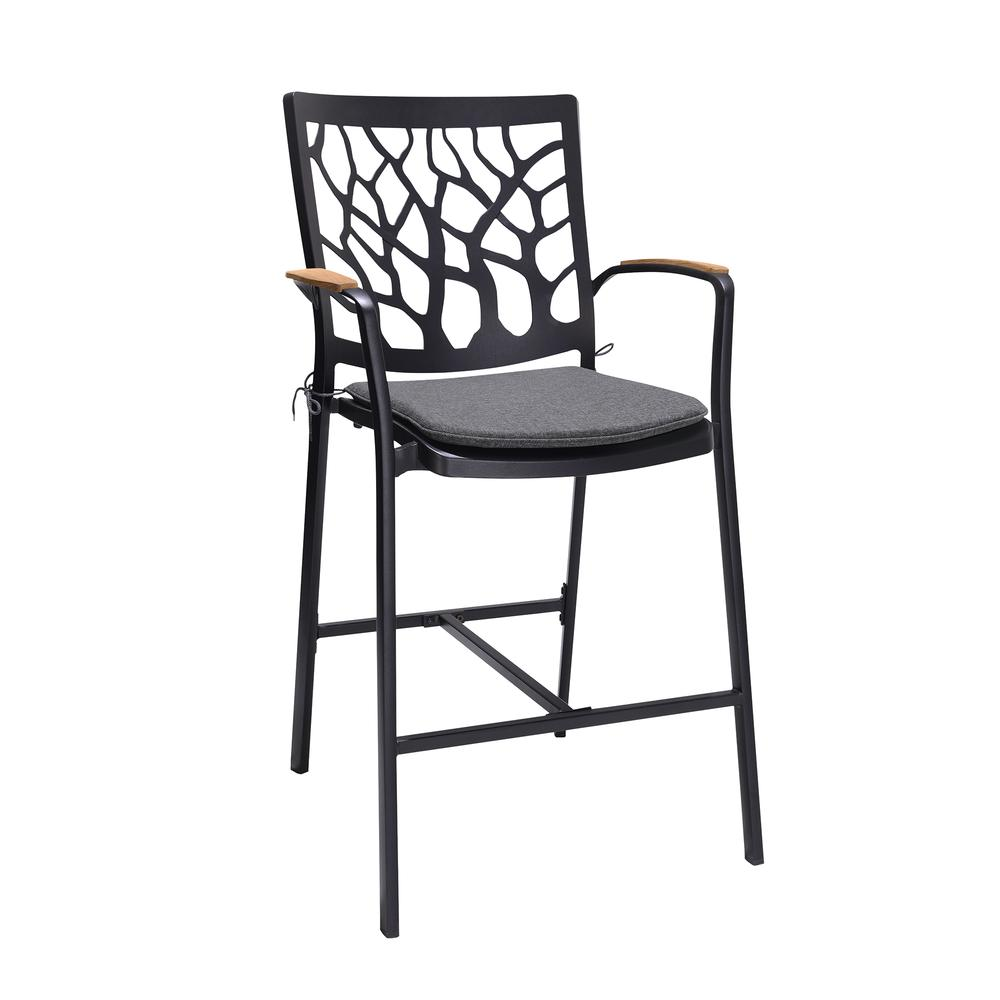 Portals Outdoor Patio Aluminum Barstool in Black with Natural Teak Wood Accent and Cushions. Picture 1