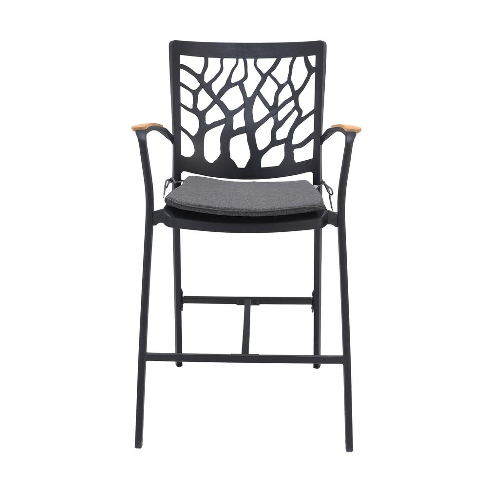 Portals Outdoor Patio Aluminum Barstool in Black with Natural Teak Wood Accent and Cushions. Picture 2