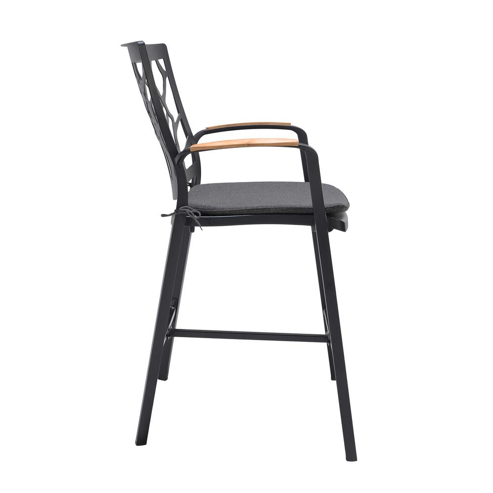 Portals Outdoor Patio Aluminum Barstool in Black with Natural Teak Wood Accent and Cushions. Picture 3