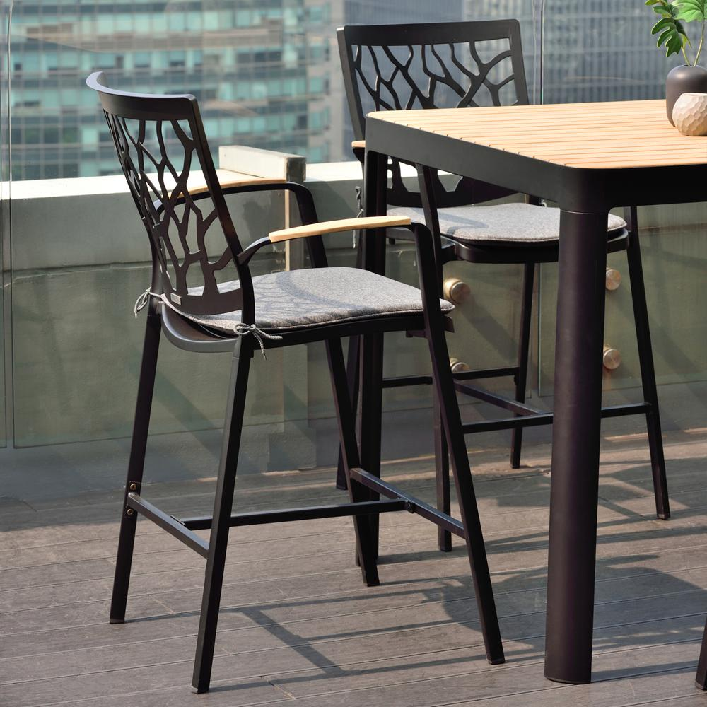 Portals Outdoor Patio Aluminum Barstool in Black with Natural Teak Wood Accent and Cushions. Picture 7