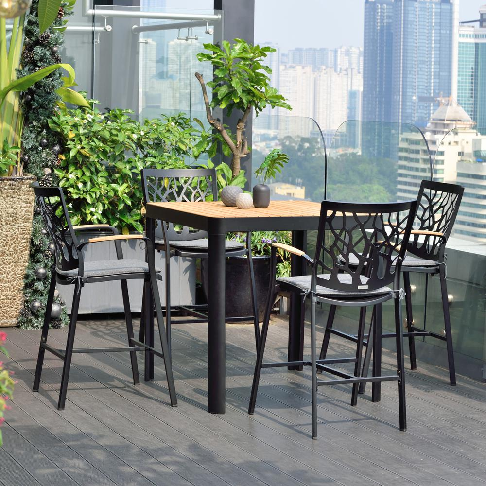 Portals Outdoor Patio Aluminum Barstool in Black with Natural Teak Wood Accent and Cushions. Picture 8