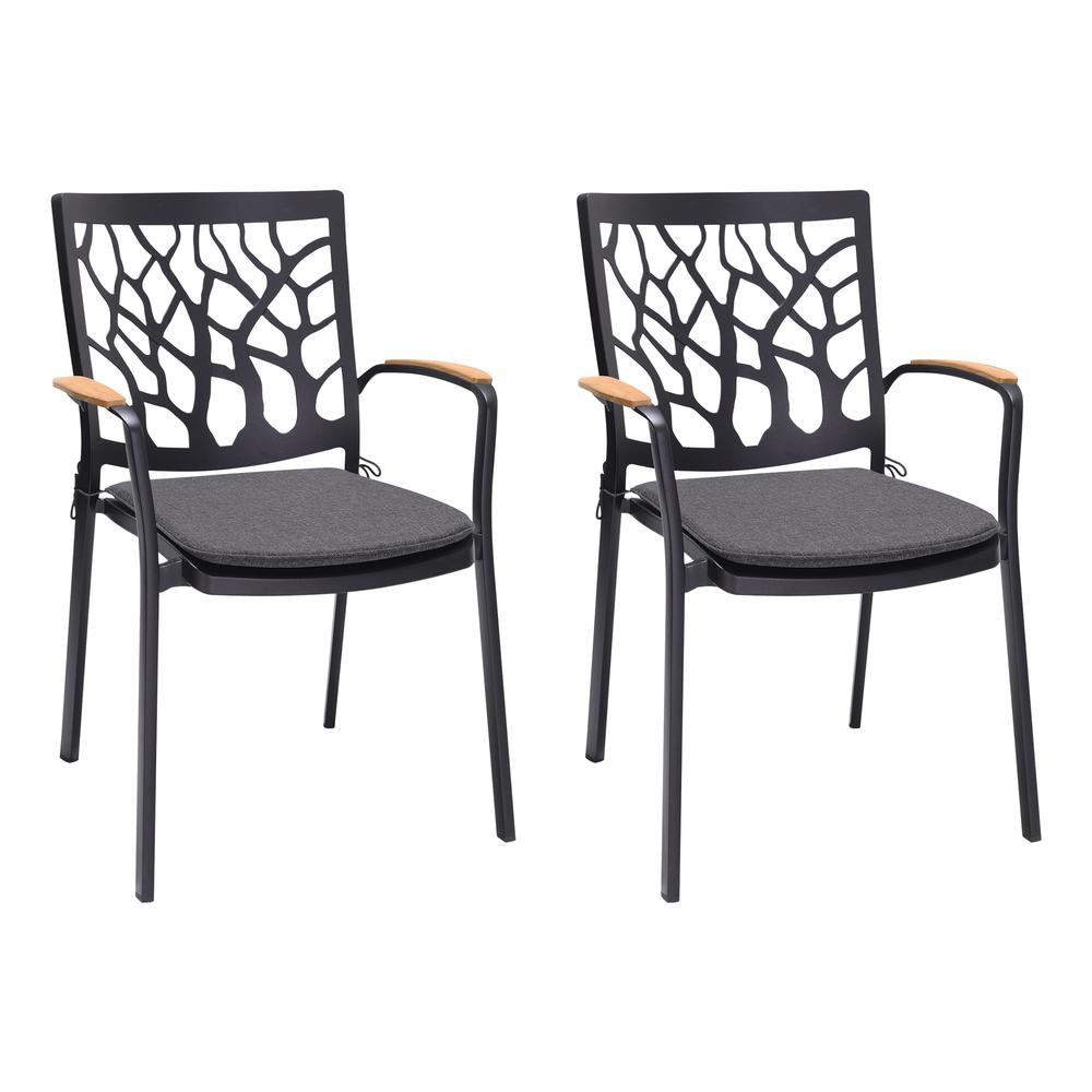 Portals Outdoor Patio Aluminum Chair in Black with Natural Teak Wood Accent-Set of 2. Picture 1
