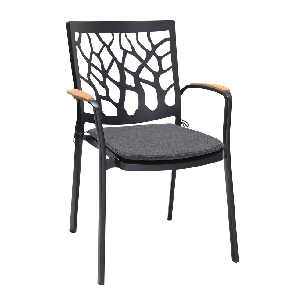 Portals Outdoor Patio Aluminum Chair in Black with Natural Teak Wood Accent-Set of 2. Picture 2