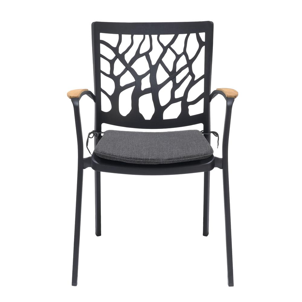 Portals Outdoor Patio Aluminum Chair in Black with Natural Teak Wood Accent-Set of 2. Picture 3