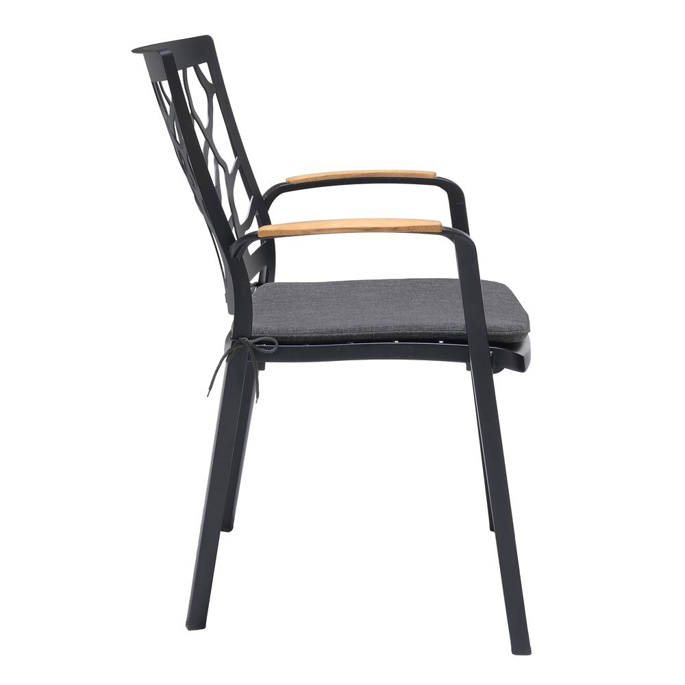 Portals Outdoor Patio Aluminum Chair in Black with Natural Teak Wood Accent-Set of 2. Picture 4