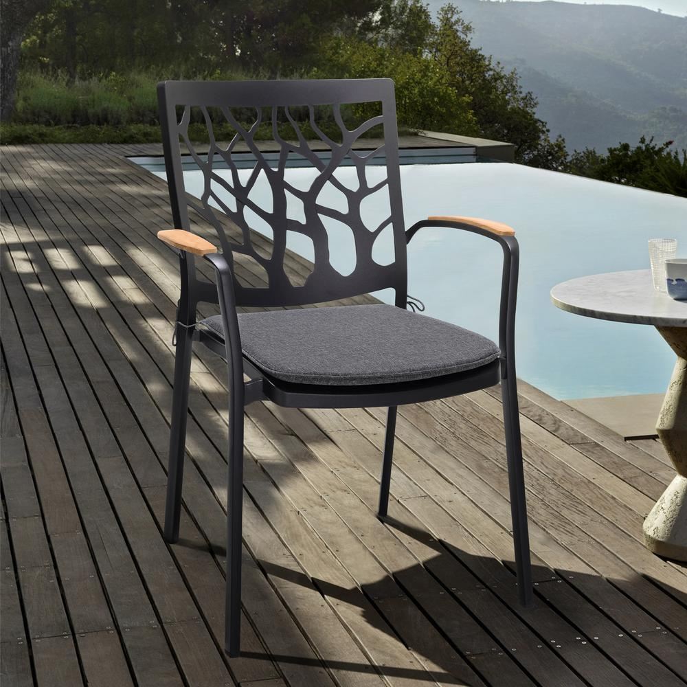 Portals Outdoor Patio Aluminum Chair in Black with Natural Teak Wood Accent-Set of 2. Picture 8