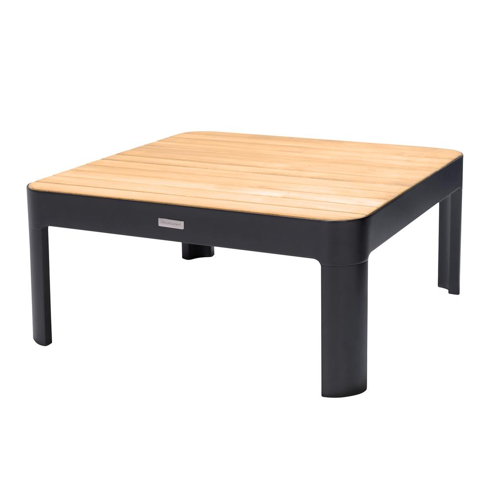 Portals Outdoor Square Coffee Table in Black Finish with Natural Teak Wood Top. Picture 1