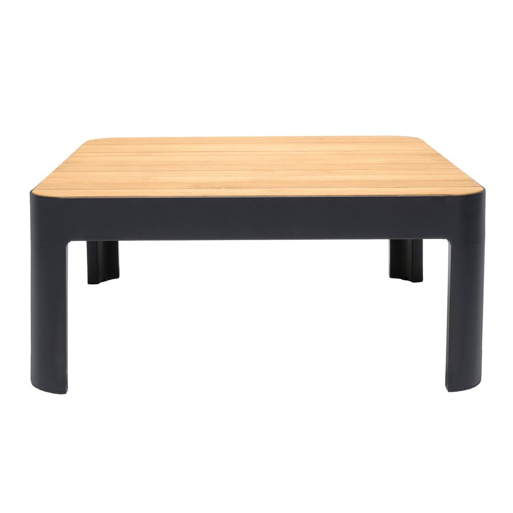 Portals Outdoor Square Coffee Table in Black Finish with Natural Teak Wood Top. Picture 2